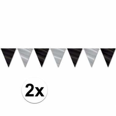 2x oud en nieuw/nieuwjaar thema vlaggenlijn zwart/zilver