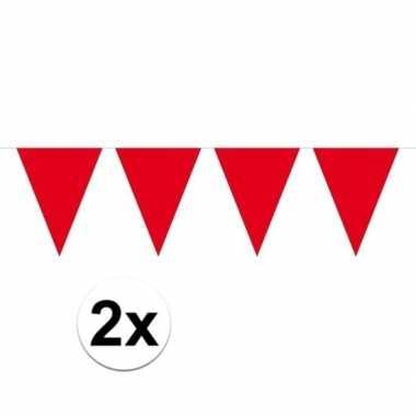 2x rood mini vlaggenlijn feestversiering