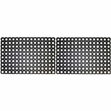 2x rubberen deurmat/buitenmat 60 x 40 cm