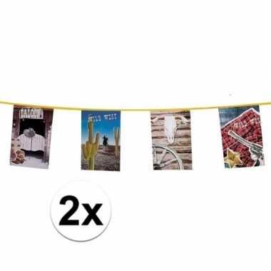 2x stuks cowboy vlaggenlijnen 10 meter per stuk