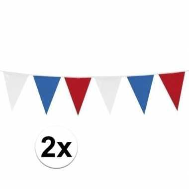 2x stuks rood wit blauwe vlaggetjes