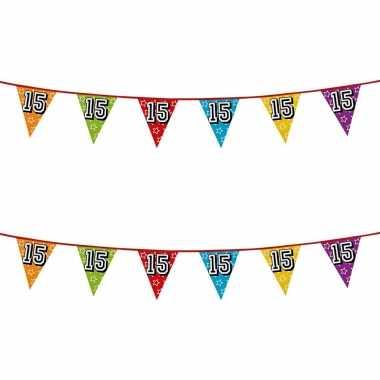2x stuks vlaggenlijnen glitters 15 jaar thema feestartikelen