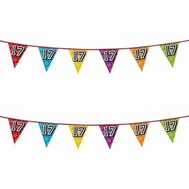 2x stuks vlaggenlijnen glitters 17 jaar thema feestartikelen