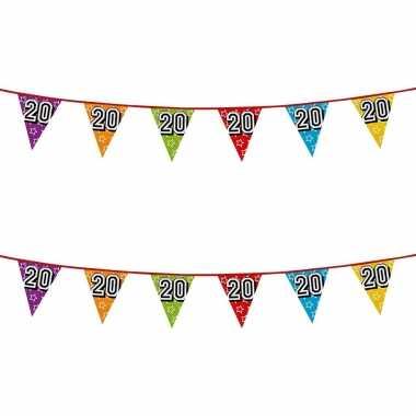 2x stuks vlaggenlijnen glitters 20 jaar thema feestartikelen