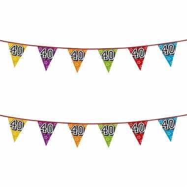 2x stuks vlaggenlijnen glitters 40 jaar thema feestartikelen