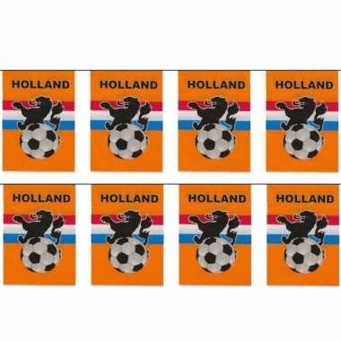 2x stuks vlaggenlijnen/vlaggetjes oranje holland voetbal thema 10 meter
