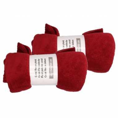 2x wijn rode fleece plaid/dekentje 150 x 200 cm