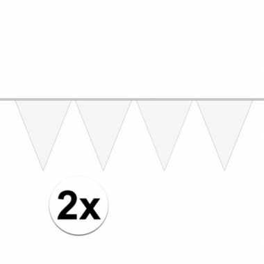 2x wit mini vlaggenlijn feestversiering