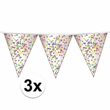 3 plastic transparante vlaggenlijnen confetti