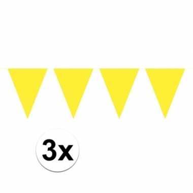 3 stuks groot formaat gele slingers