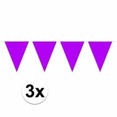 3 stuks groot formaat paarse slingers