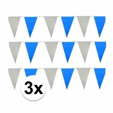 3 stuks lichtblauw/witte vlaggetjes