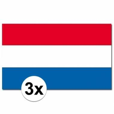 3 stuks vlaggen nederland