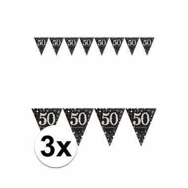 3x 50 jaar sparkling celebrations versiering slinger