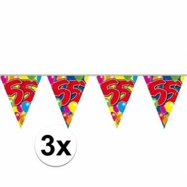 3x 55e verjaardag slingers / vlaggenlijnen 10m