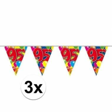3x 95e verjaardag slingers / vlaggenlijnen 10m