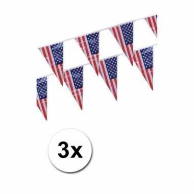 3x amerikaanse vlaggenlijn 4 meter