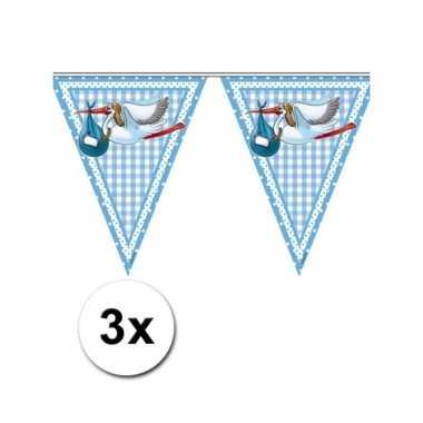 3x baby geboren een jongen vlaggetjes