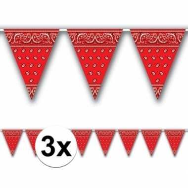 3x cowoy vlaggenlijn boeren zakdoek