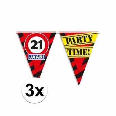 3x decoratie vlaggenlijn verkeersbord 21 jaar