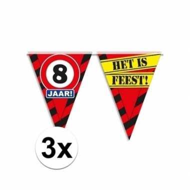 3x decoratie vlaggenlijn verkeersbord 8 jaar