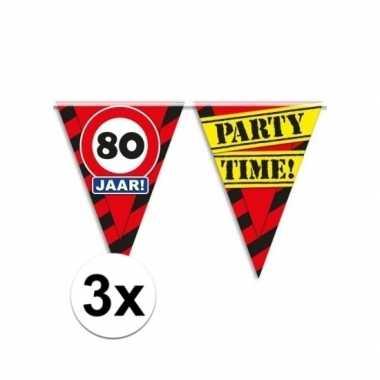 3x decoratie vlaggenlijn verkeersbord 80 jaar