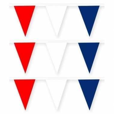 3x feestartikelen kroatie thema stoffen slingertje rood/wit/blauw 10 m