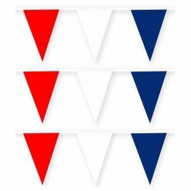 3x feestartikelen stoffen slingertje rood/wit/blauw 10 m