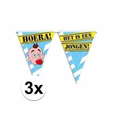3x geboorte slingers / vlaggenlijn jongen 10 meter