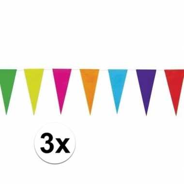 3x gekleurde uni vlaggenlijn 10 meter