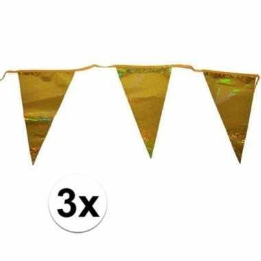 3x gouden vlaggenlijn 3 meter