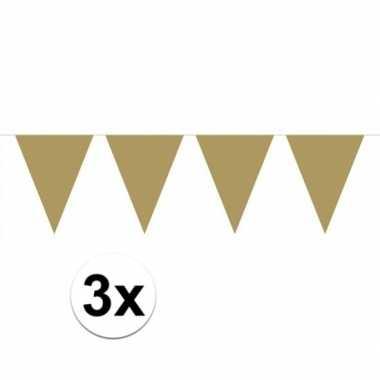 3x groot formaat gouden vlaggenlijnen