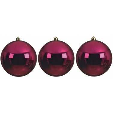 3x grote bessen roze kerstballen van 14 cm glans van kunststof