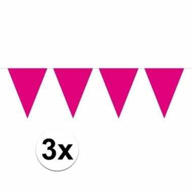 3x magenta magenta roze mini vlaggenlijn feestversiering
