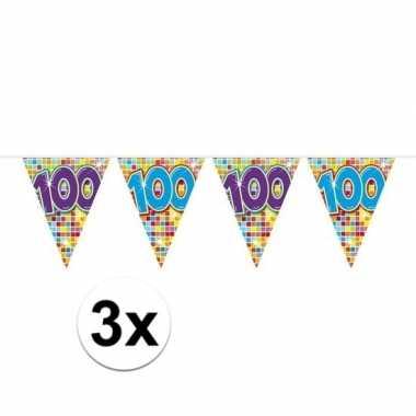 3x mini vlaggenlijn feestversiering met leeftijd 100