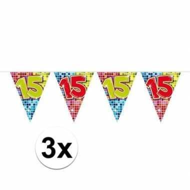 3x mini vlaggenlijn feestversiering met leeftijd 15