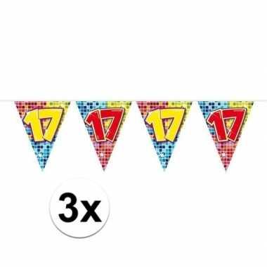 3x mini vlaggenlijn feestversiering met leeftijd 17
