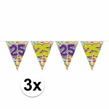 3x mini vlaggenlijn feestversiering met leeftijd 25