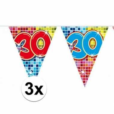 3x mini vlaggenlijn feestversiering met leeftijd 30