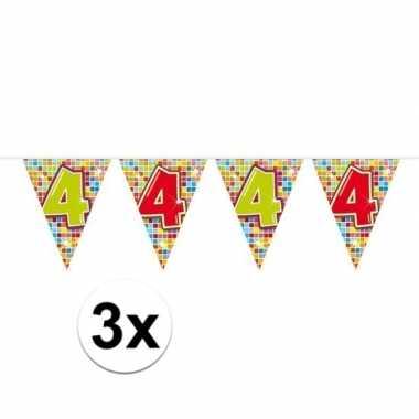 3x mini vlaggenlijn feestversiering met leeftijd 4