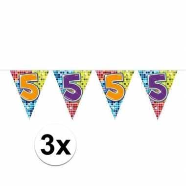 3x mini vlaggenlijn feestversiering met leeftijd 5