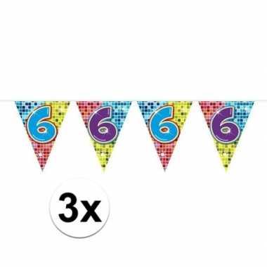 3x mini vlaggenlijn feestversiering met leeftijd 6