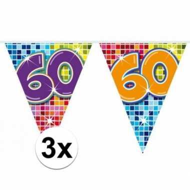 3x mini vlaggenlijn feestversiering met leeftijd 60