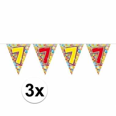 3x mini vlaggenlijn feestversiering met leeftijd 7