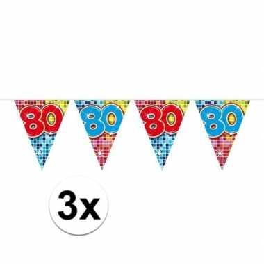 3x mini vlaggenlijn feestversiering met leeftijd 80