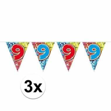 3x mini vlaggenlijn feestversiering met leeftijd 9