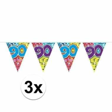 3x mini vlaggenlijn feestversiering met leeftijd 90