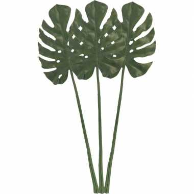 3x monstera gatenplant kunstblad/kunsttak groen 85 cm