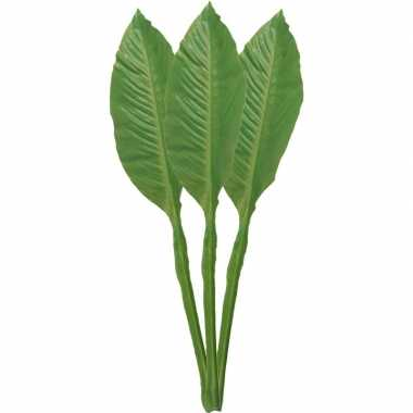 3x musa bananenplant kunstblad/kunsttak groen 74 cm