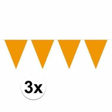 3x oranje mini vlaggenlijn feestversiering